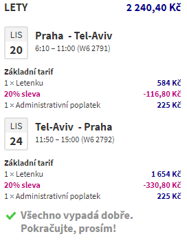 Tel Aviv z Prahy za 2 240