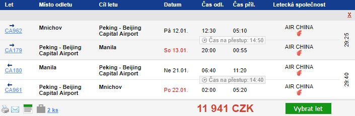 Filipíny + Peking = 11 491 Kč