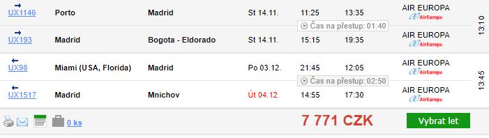 3v1: Porto + Kolumbie + Florida za 12 943 Kč