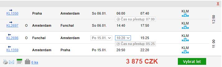 Madeira z Prahy - 3875 Kč