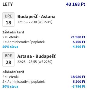Kazachstán z Budapešti za1 765Kč