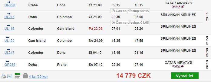 Maledivy + Srí Lanka + Katar z Prahy za 14 779 Kč