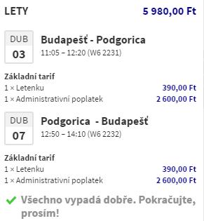 Černá Hora z Budapešti za 524 Kč