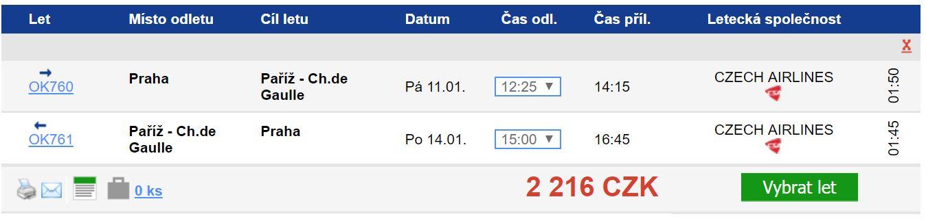 Zimní Paříž z Prahy za 2 216 Kč