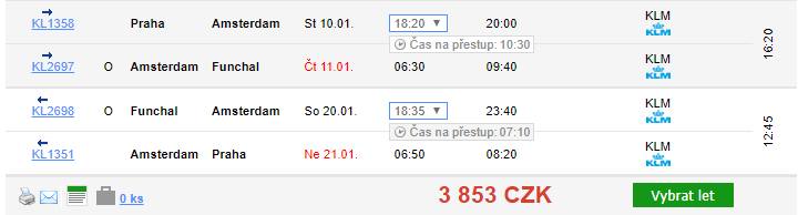Madeira z Prahy za 3 853 Kč