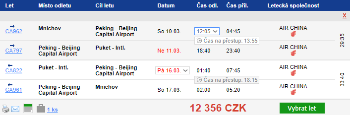 Phuket a Peking - 12 356 Kč