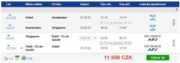Singapur z Vídně za 11856 Kč