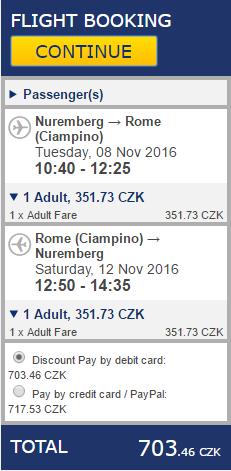 Z Prahy do Říma za 1069 Kč nebo z Norimberku již za 703 Kč
