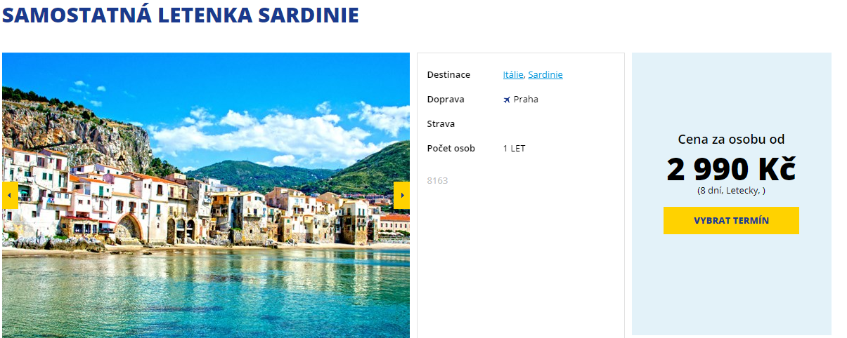 Last minute: Sardinie z Prahy za 2990 Kč