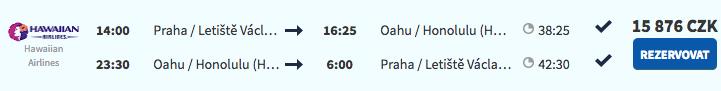 Havaj z Prahy za 15 876 Kč